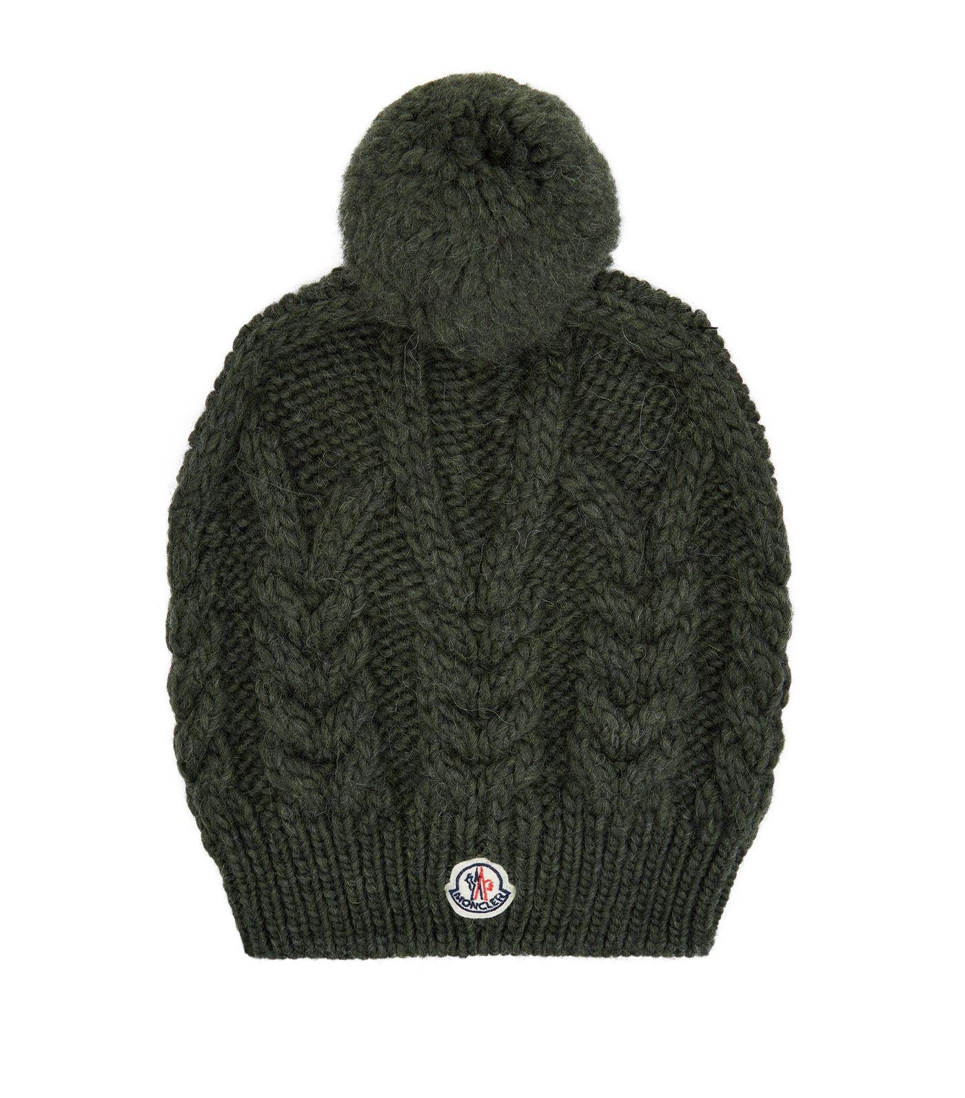 6146be22c8e40 Moncler Alpaca Bobble Hat in Green - Lyst
