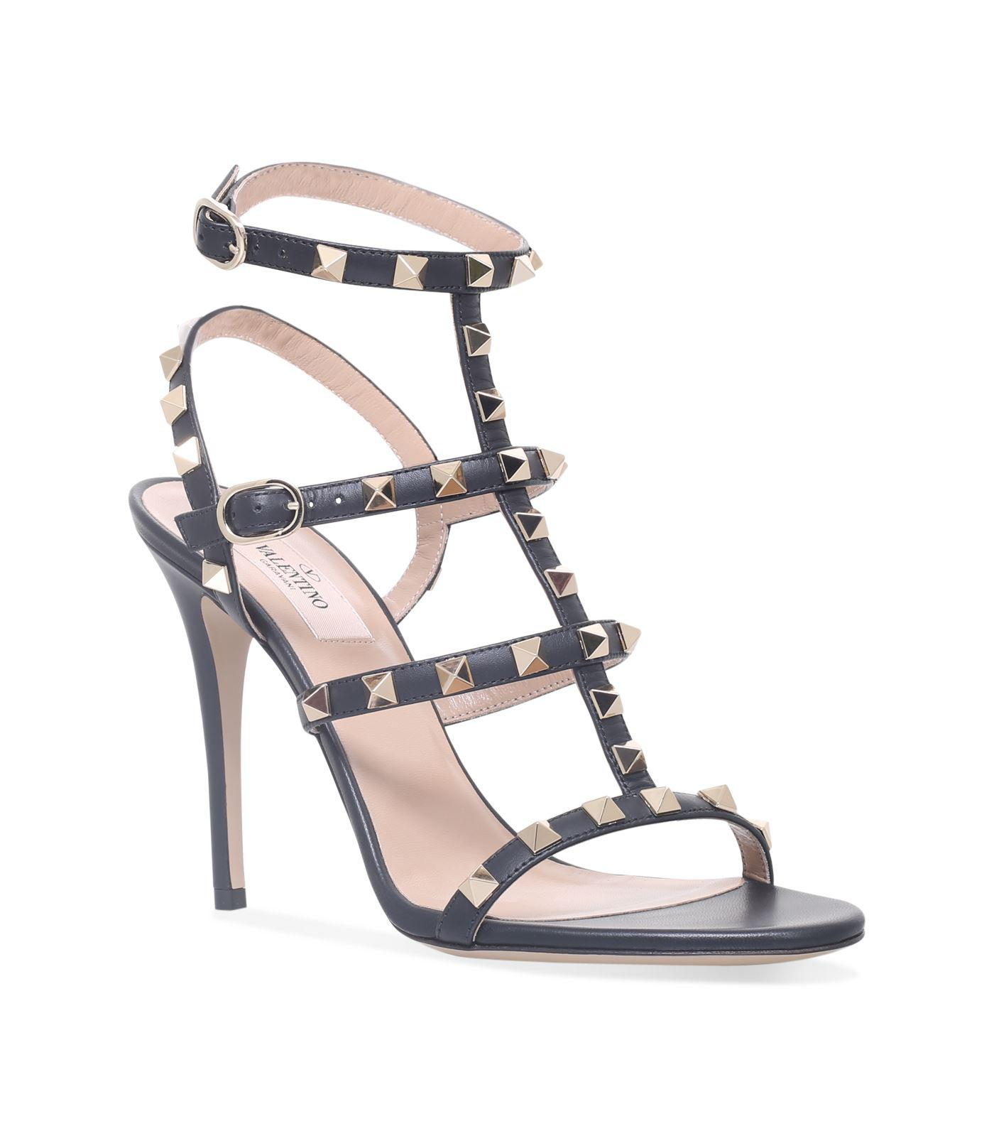 bdd9033db35 Lyst - Valentino Leather Rockstud Sandals 105 in Black