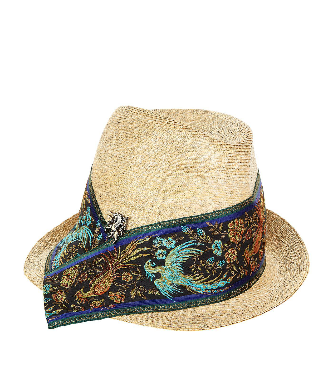 Philip Treacy Embroidered Band Trilby Hat in Natural - Lyst dd489aef60b6