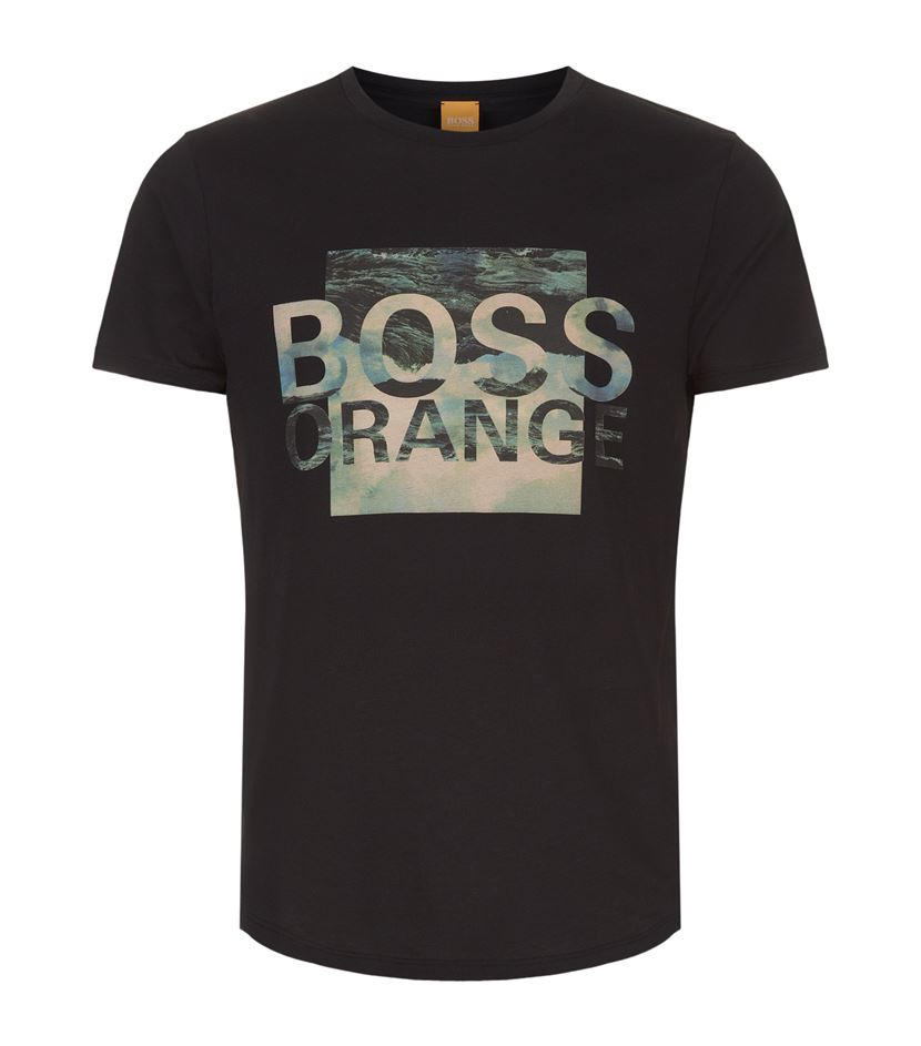 boss orange abstract logo printed t shirt in black for men. Black Bedroom Furniture Sets. Home Design Ideas