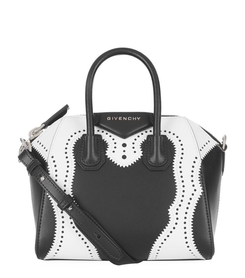 8d15b1fa68 Givenchy Mini Antigona Brogue Leather Tote in Black - Lyst