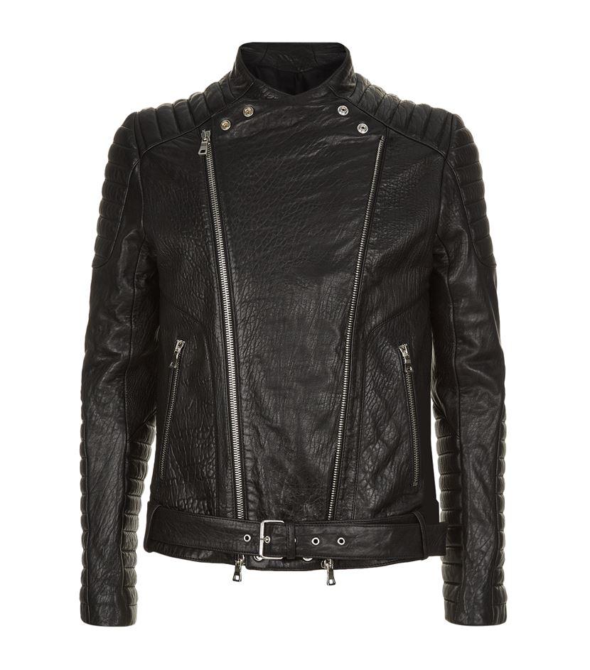Balmain Shearling Biker Jacket In Black For Men Lyst