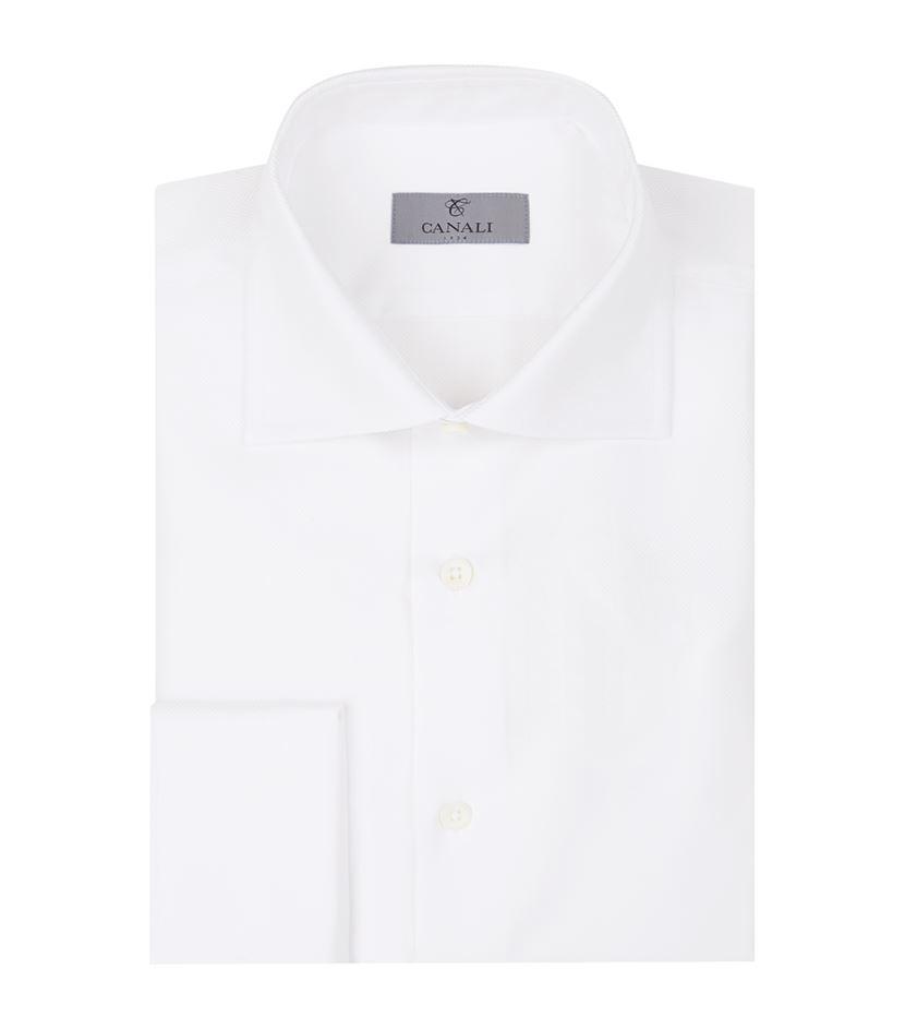 Canali herringbone cotton dress shirt in white for men lyst for White herringbone dress shirt