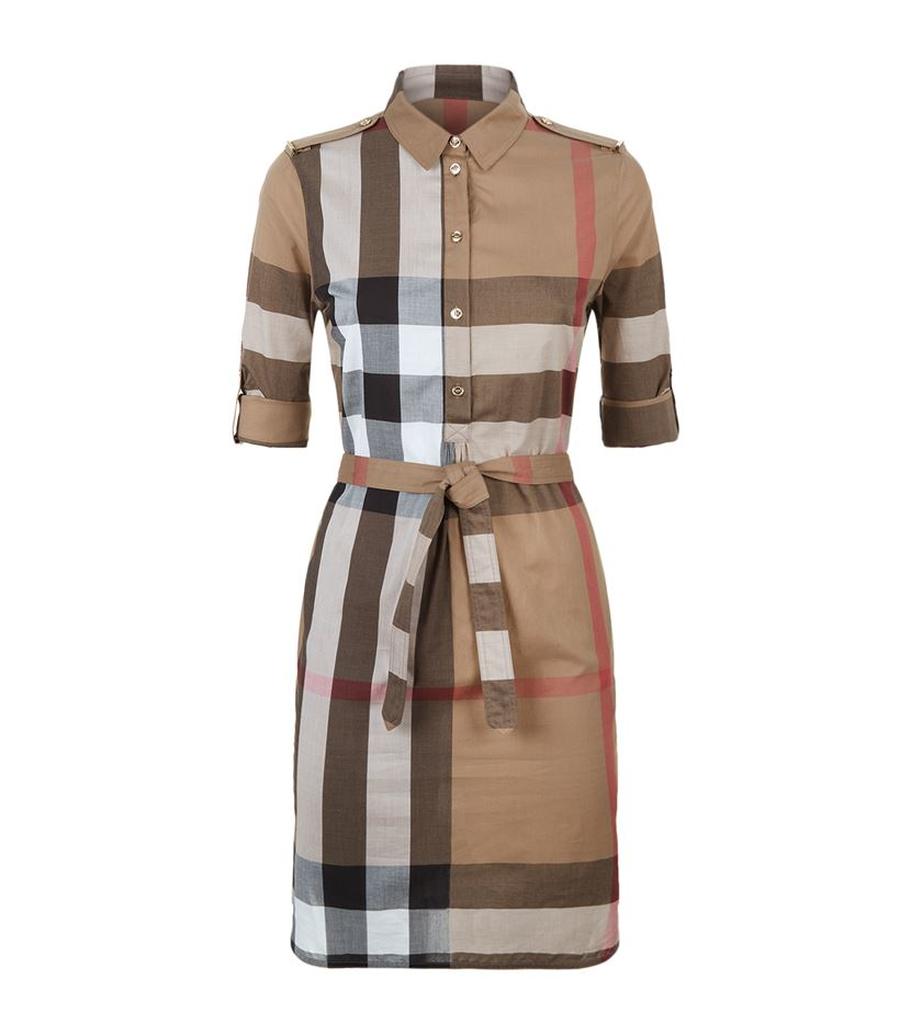 Burberry Check Cotton Shirt Dress In Natural Lyst