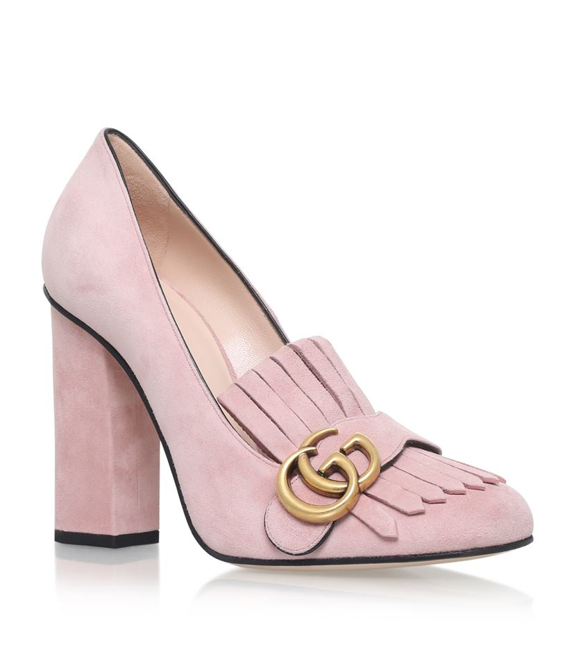 gucci marmont fringed loafer heels 105 in pink lyst. Black Bedroom Furniture Sets. Home Design Ideas