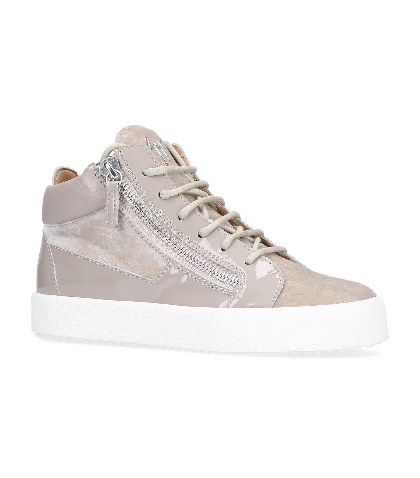 Grey Patent and Velvet Brek Mid-Top Sneakers Giuseppe Zanotti ysmFqQ