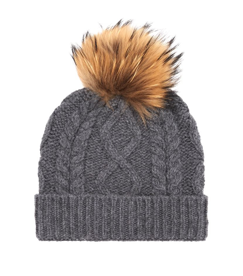 Cable Knit Bobble Hat Pattern : Weekend by maxmara Stemma Cable Knit Fur Bobble Hat in Gray Lyst