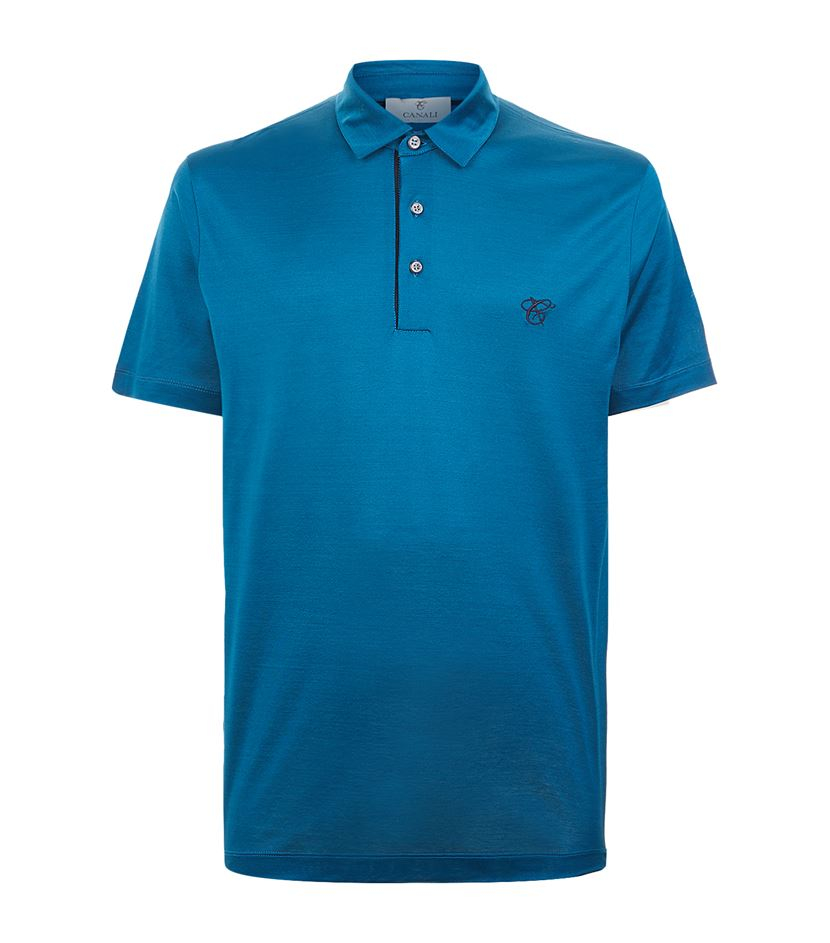 Lyst Canali Cotton Polo T Shirt In Blue For Men