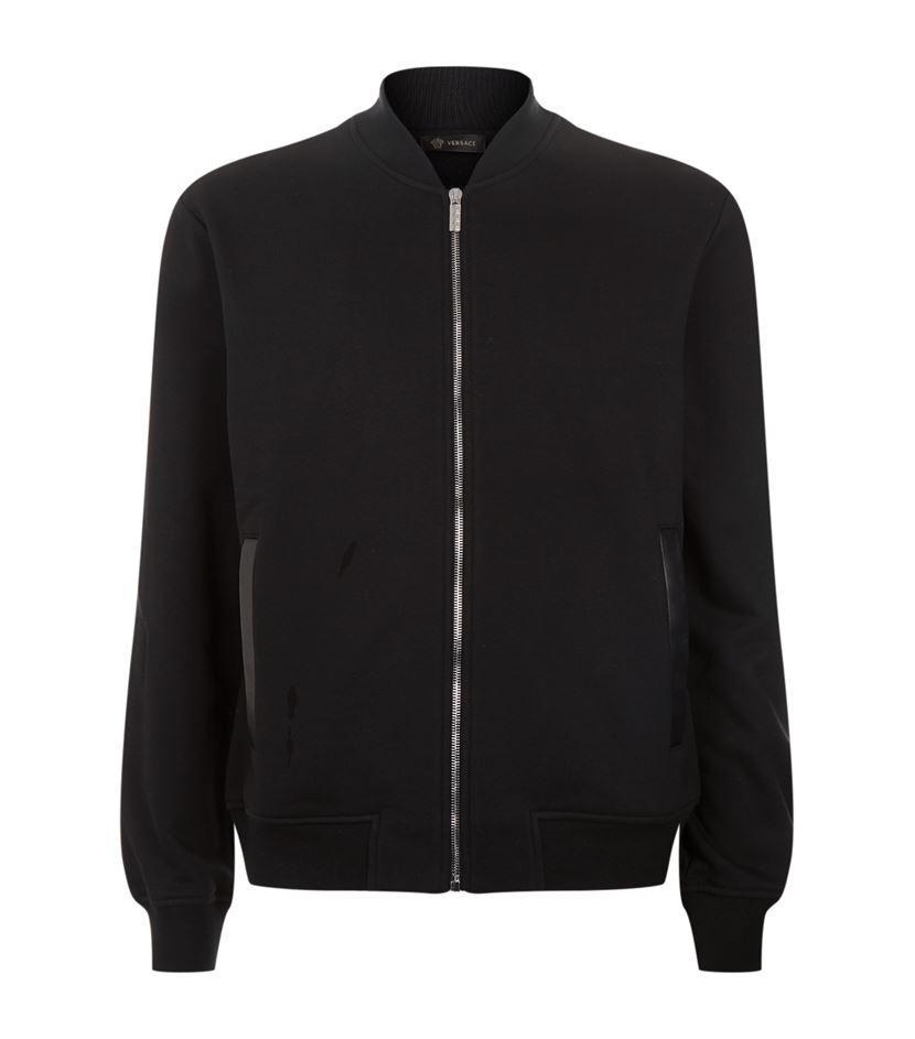 Versace embroidered back zip jacket in black for men lyst