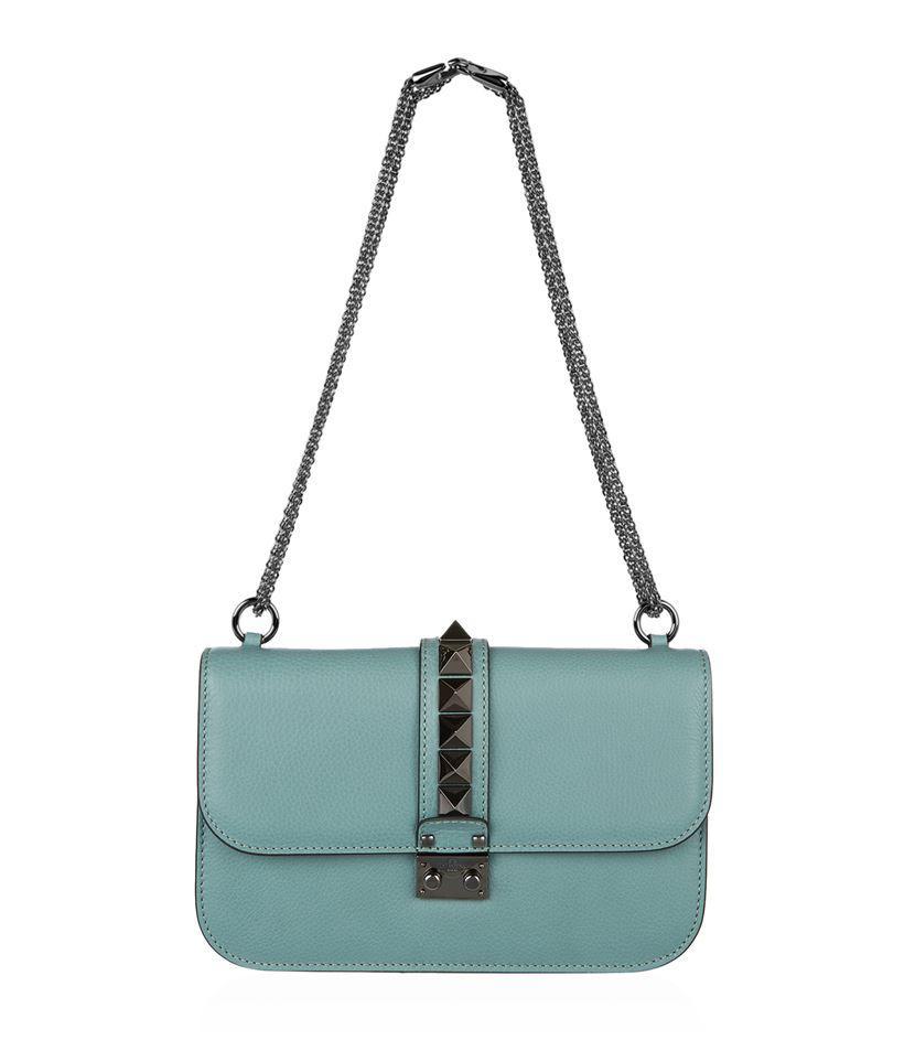valentino medium rockstud lock bag in green lyst. Black Bedroom Furniture Sets. Home Design Ideas