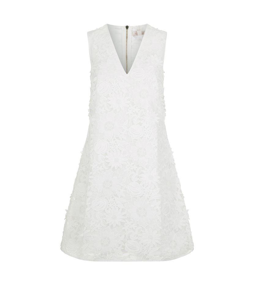 Ted baker soniah flower appliqu dress in white lyst gallery mightylinksfo