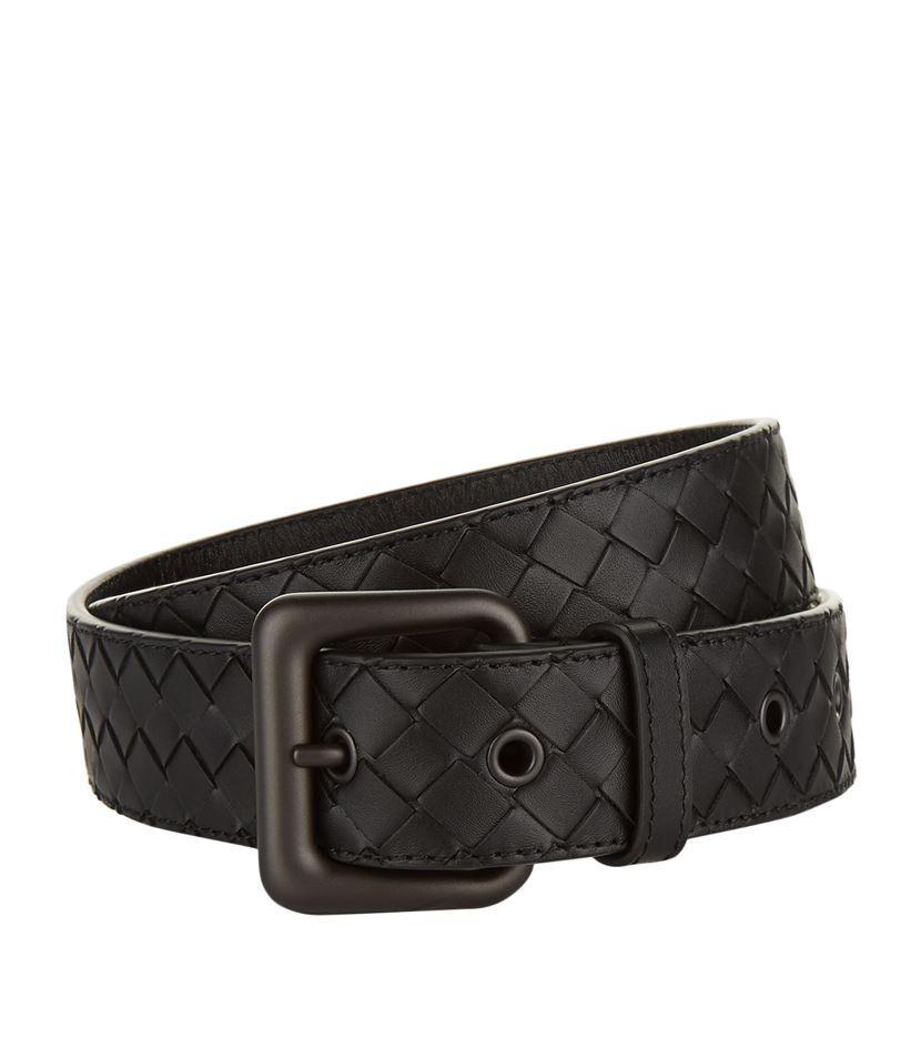 bottega veneta woven leather belt in black for lyst