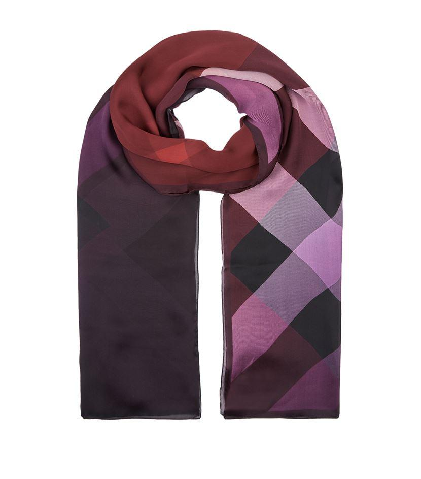 burberry ombre wash silk scarf in purple lyst