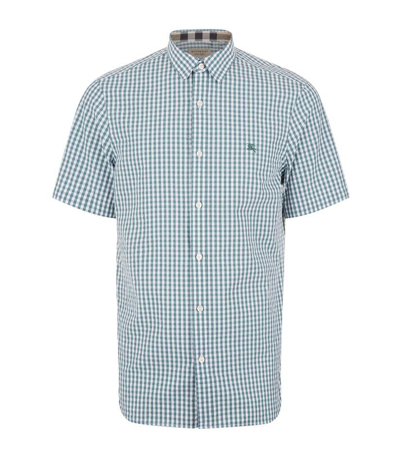 Burberry gingham shirt in blue for men lyst for Mens blue gingham shirt