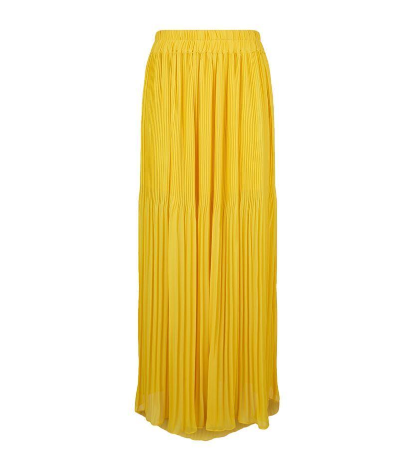 pinko pleated crepe midi skirt in yellow lyst
