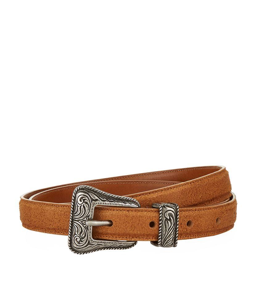 laurent western suede belt in brown for