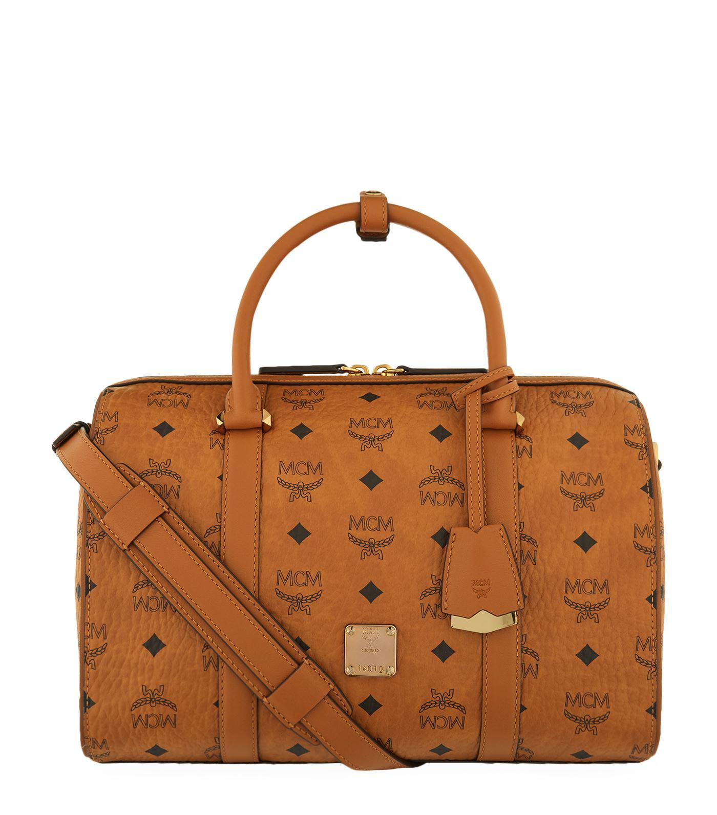 2238db0233e2 Lyst - MCM Medium Signature Visetos Boston Bag in Brown for Men