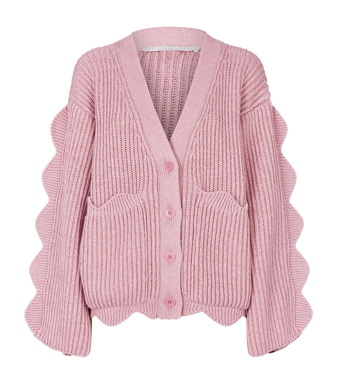 f82229cd82b4 Stella McCartney. Women s Pink Knitted Button Down Scalloped Detail Cardigan