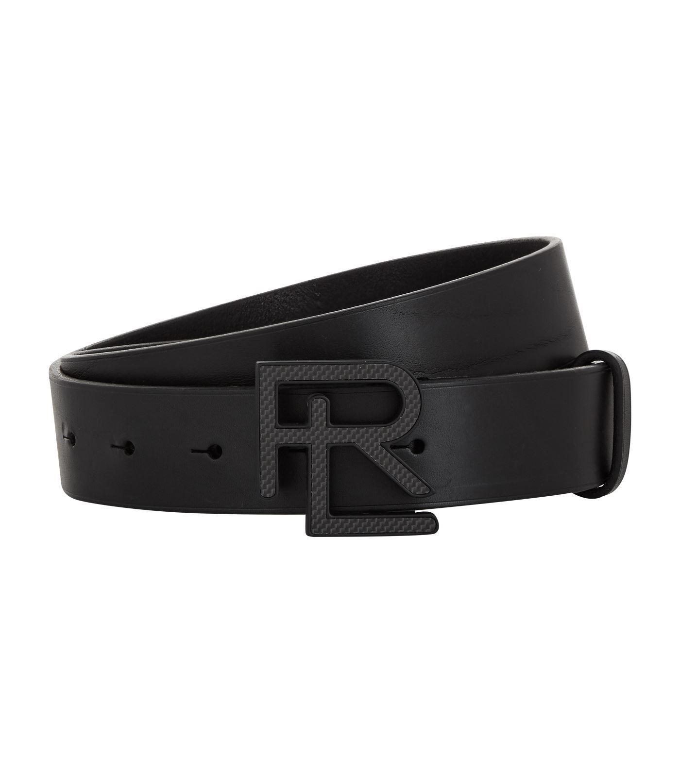 d3afa228f8b Ralph Lauren Purple Label Leather Logo Belt in Black for Men - Lyst