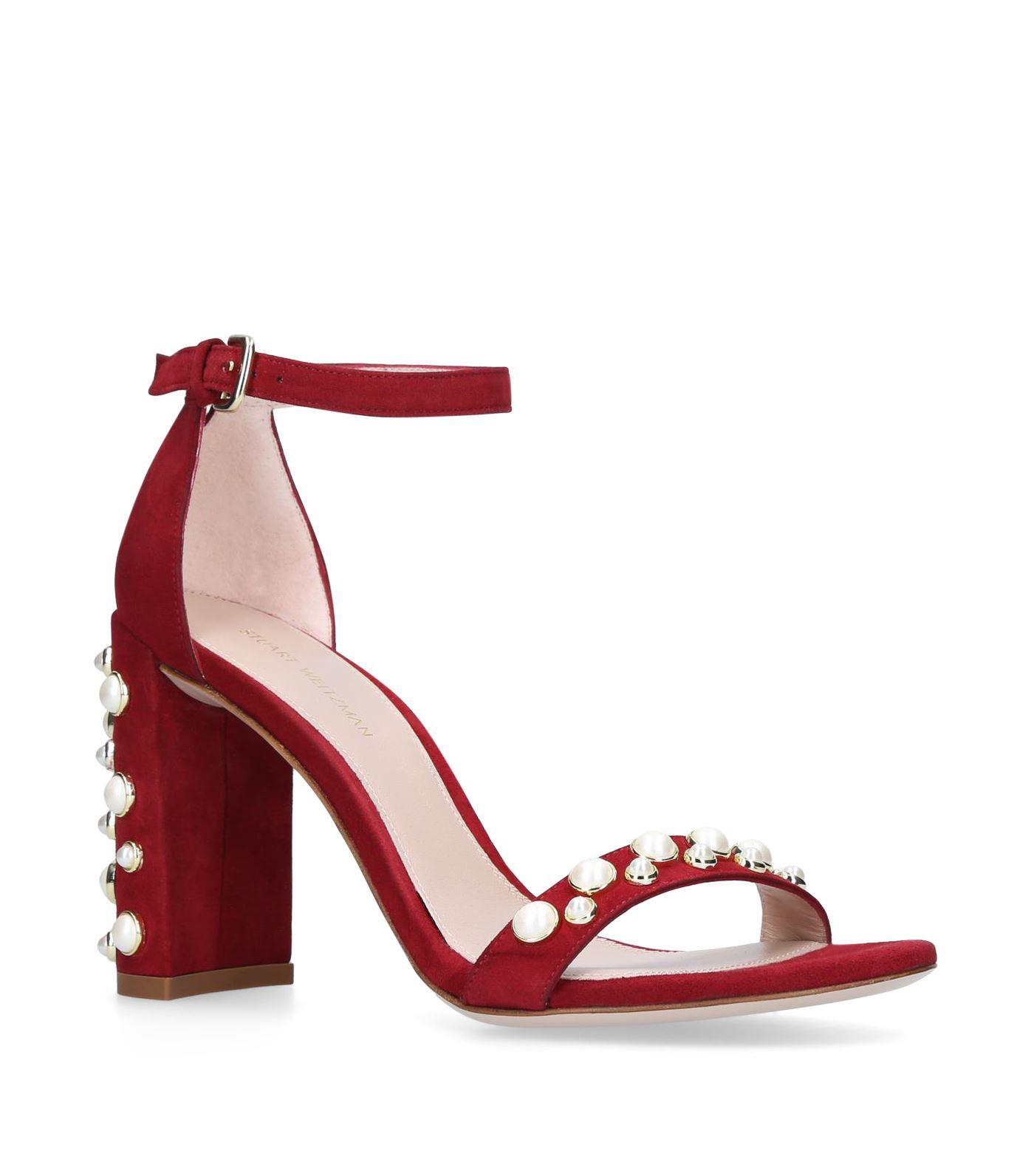 797505cafa6 Lyst - Stuart Weitzman Suede Morepearls Sandals 65 in Red