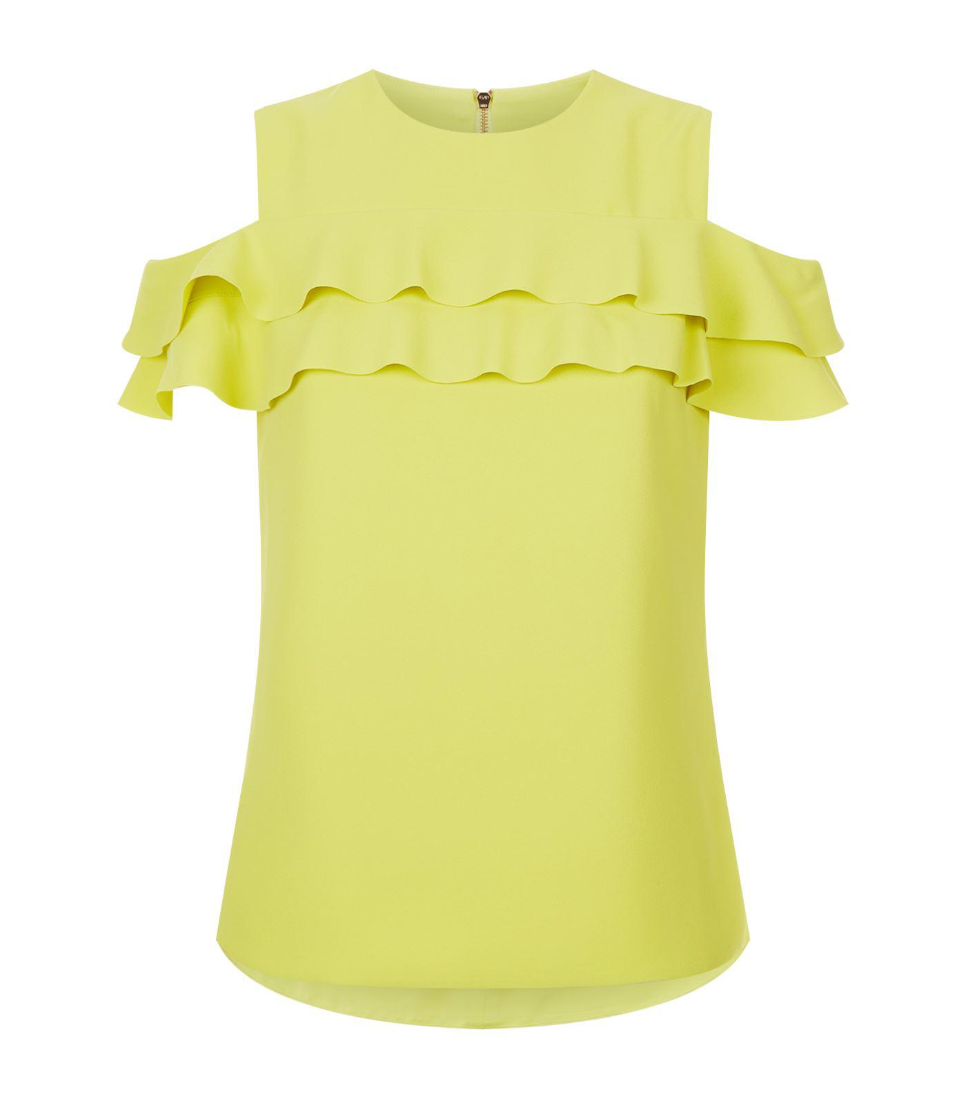 d1bde8de09720 Ted Baker Hopee Cold Shoulder Frill Top in Green - Lyst