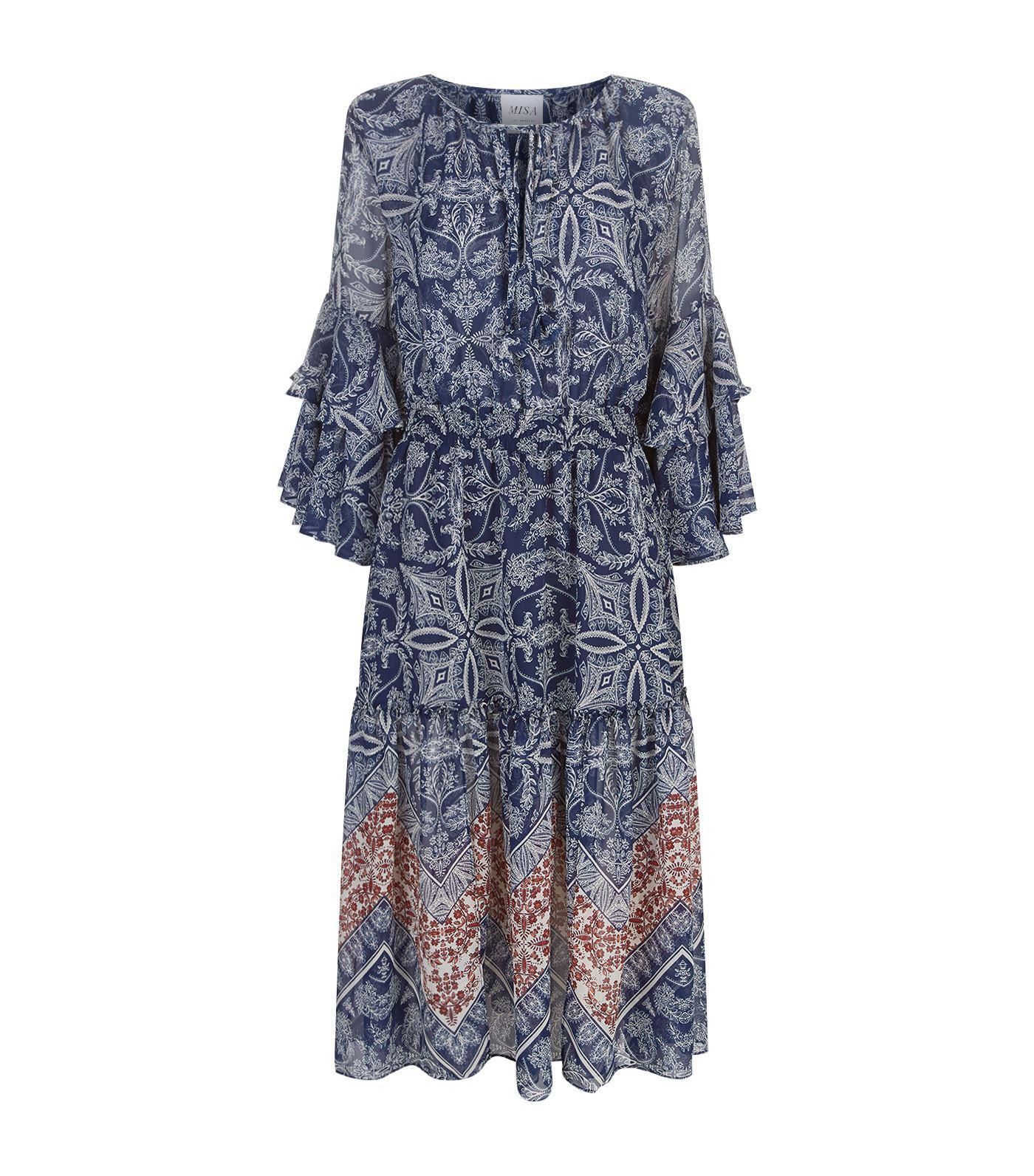 Misa Coco Floral Midi Dress in Blue - Lyst ad7b6cdb6