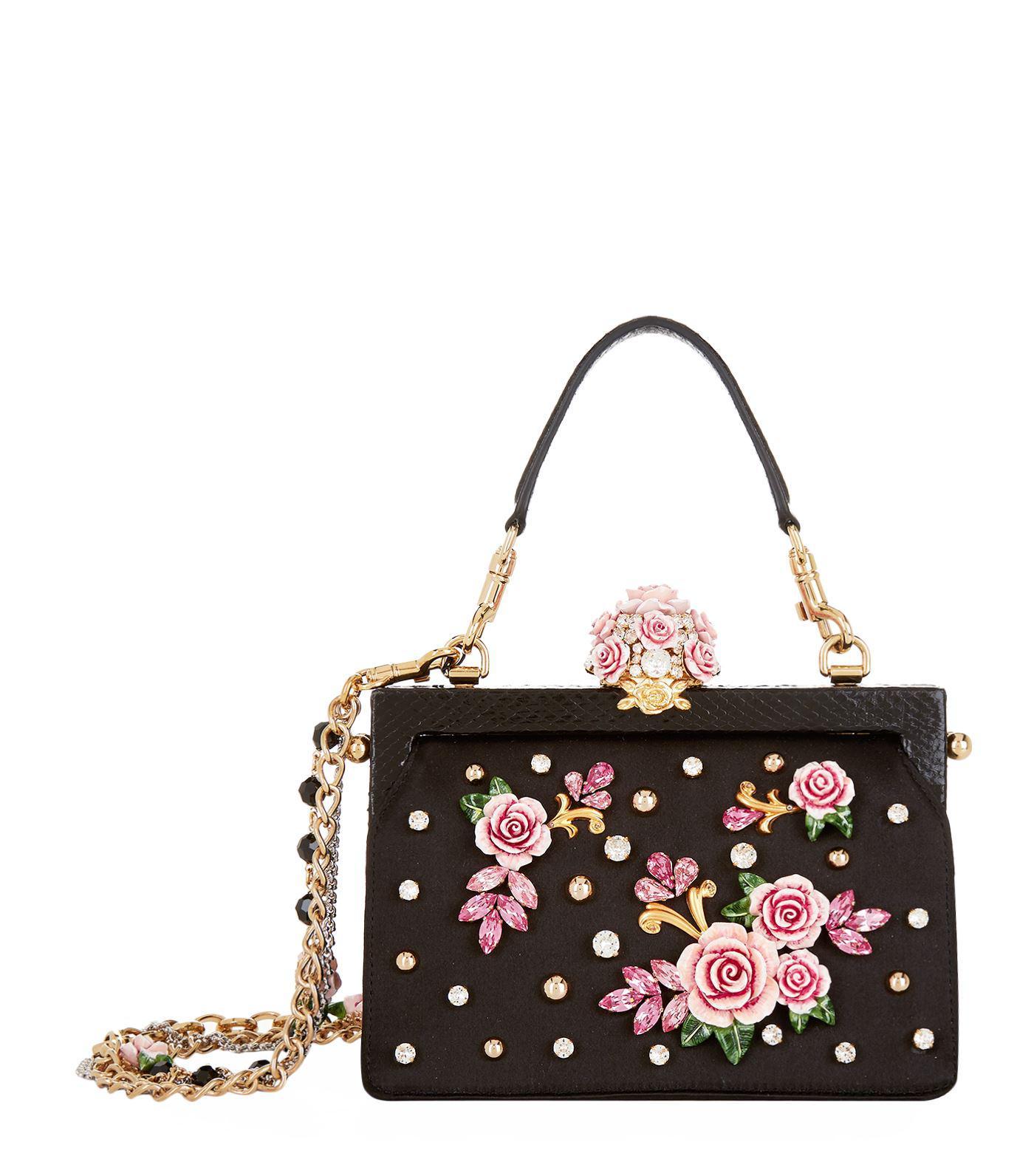 37b884df7cd Dolce & Gabbana Satin Rose Embellished Top Handle Bag - Lyst