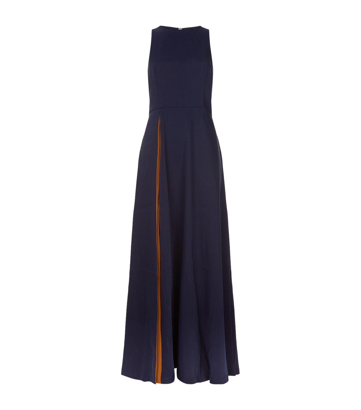 ff9a12b214cfd4 Lyst - Ted Baker Madizon Contrast Pleat Maxi Dress in Blue