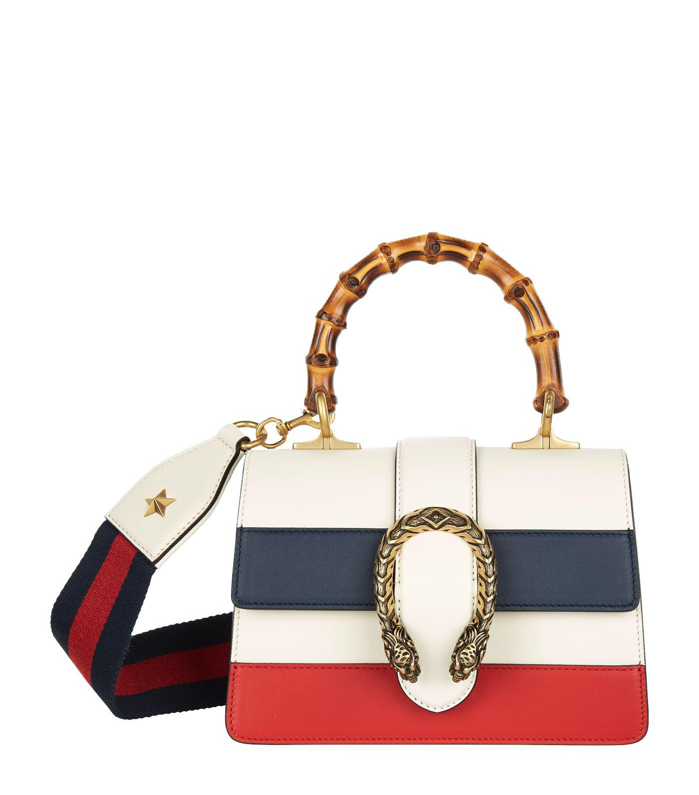 c32554624 Gucci Small Striped Dionysus Bamboo Top Handle Bag - Lyst