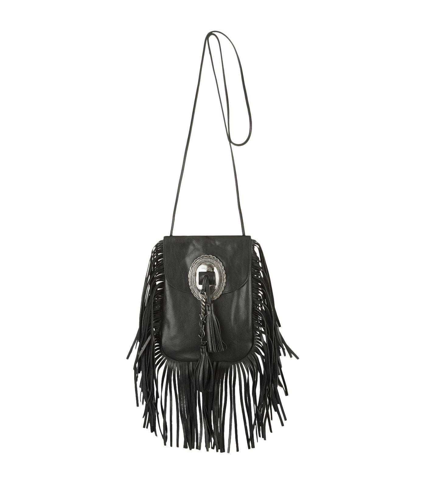 ff0b6b3df147 Saint Laurent Anita Fringed Shoulder Bag in Black - Lyst