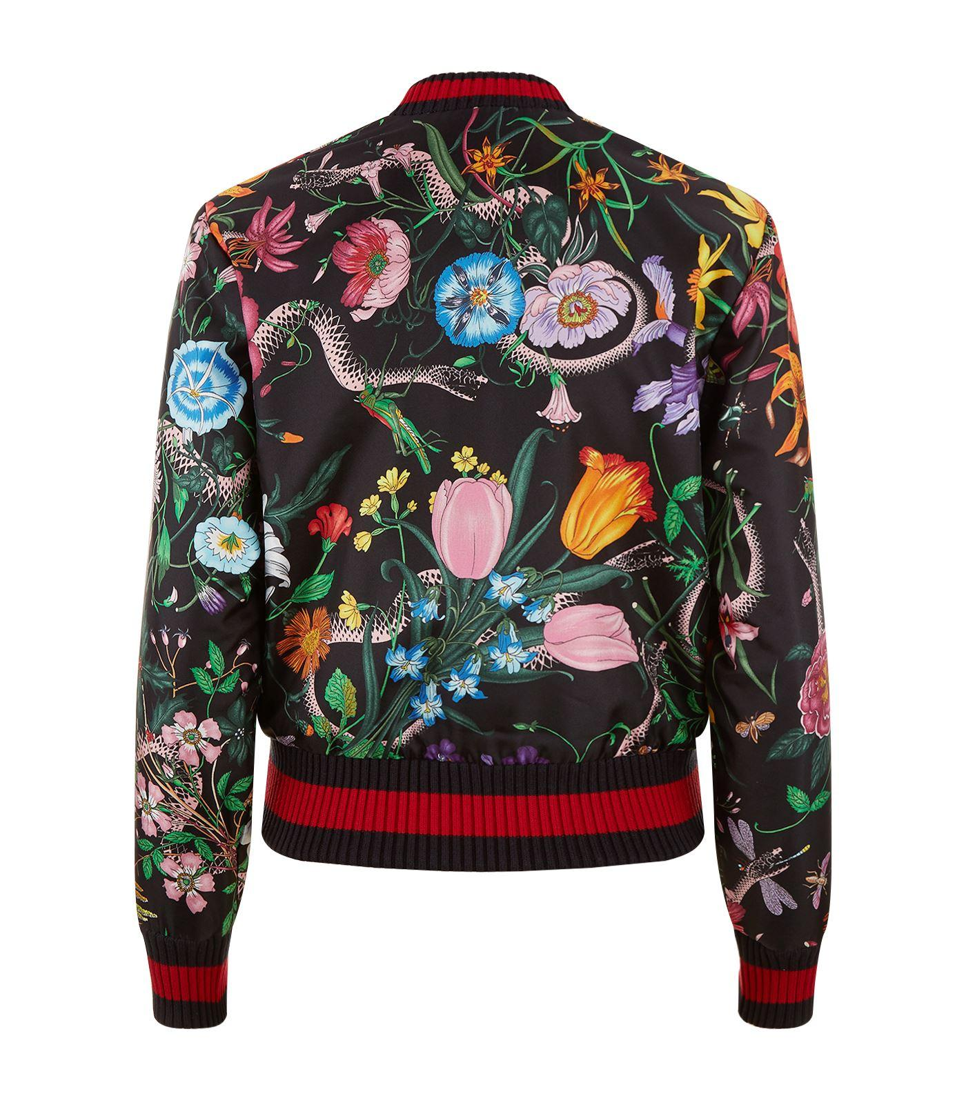 Gucci Floral Snake Bomber Jacket In White Lyst