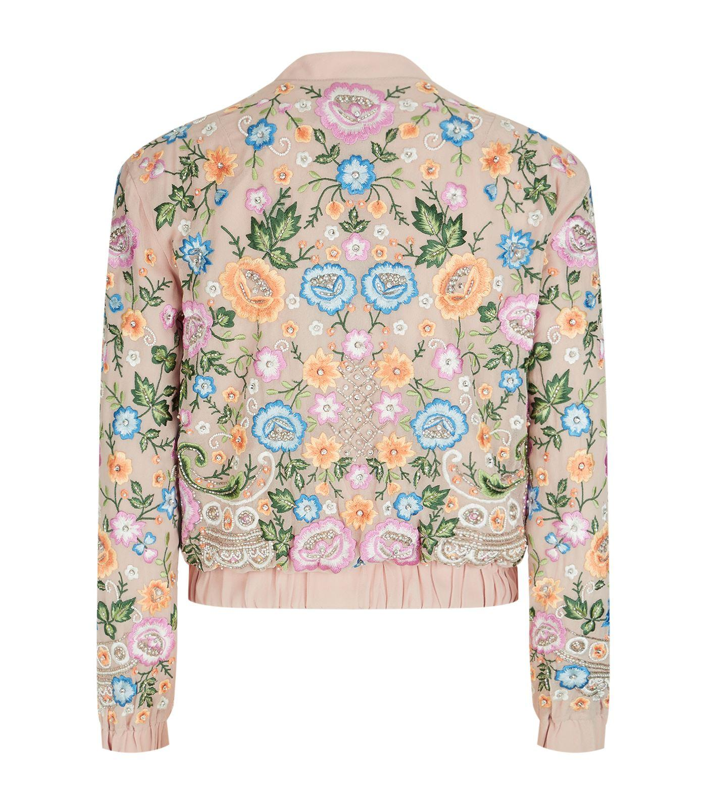 Needle thread floral embroidered bomber jacket in pink
