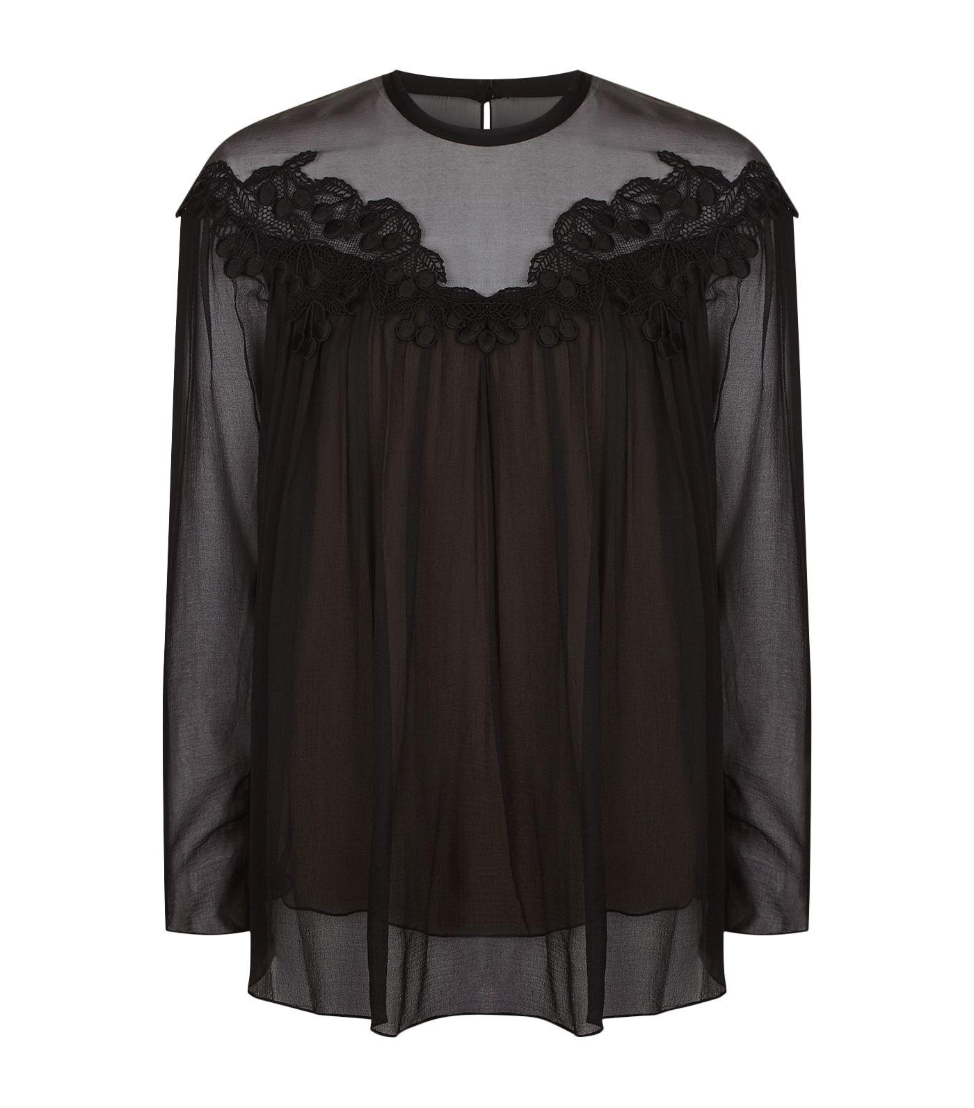 Chloé Flower Embroidered Top in Black