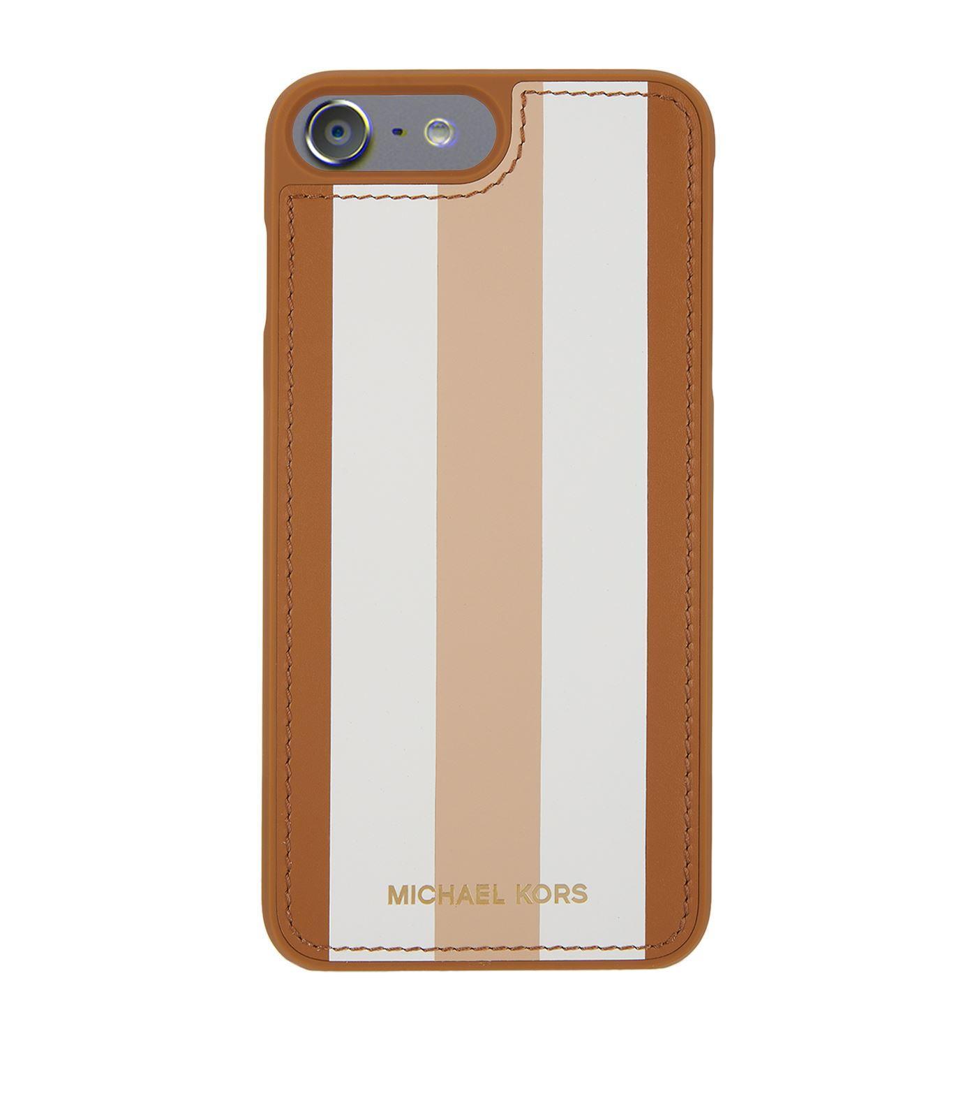 lyst michael kors leather stripe iphone 7 plus case in brown. Black Bedroom Furniture Sets. Home Design Ideas
