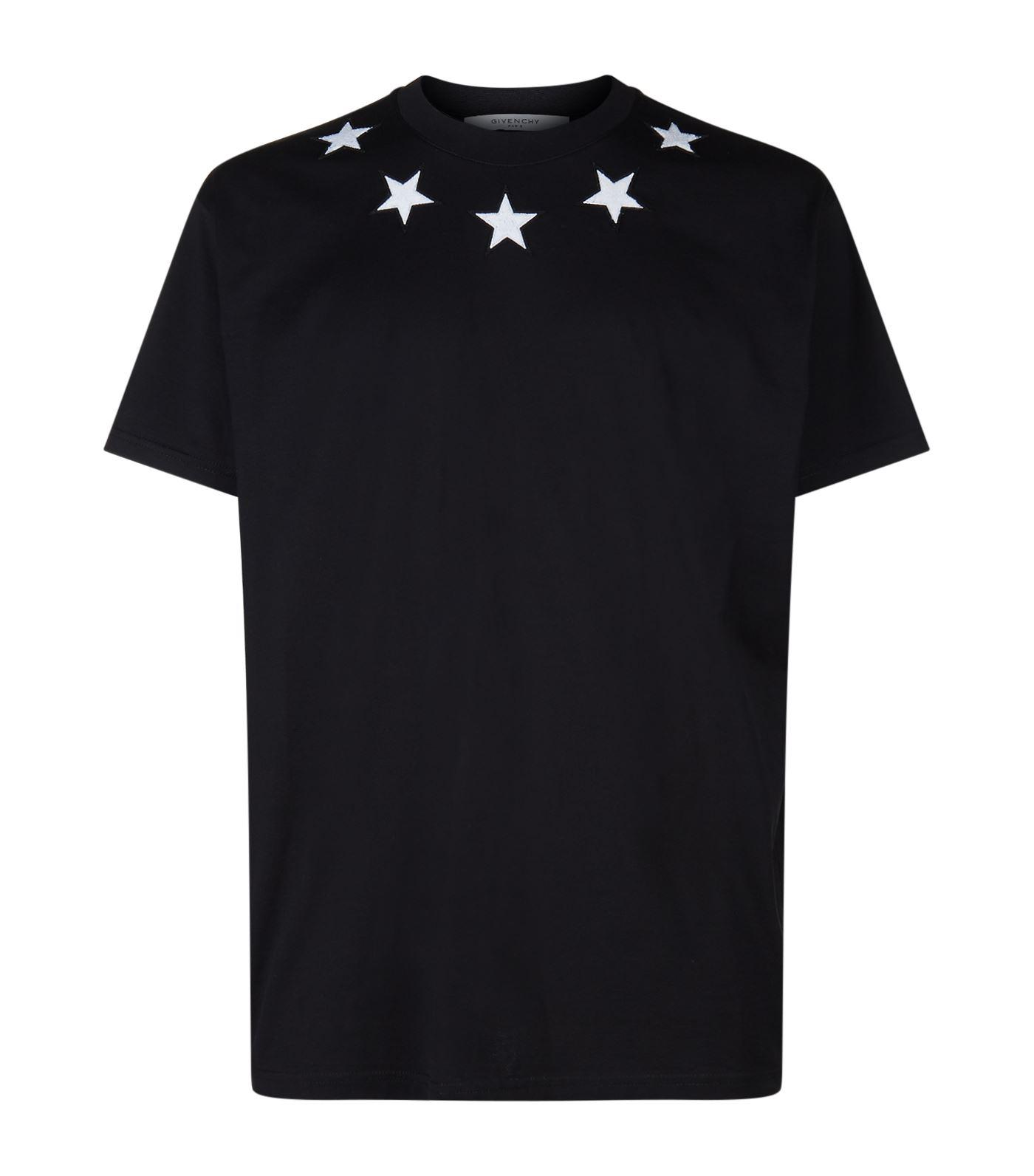Givenchy star trim t shirt in black for men lyst for Givenchy t shirt man