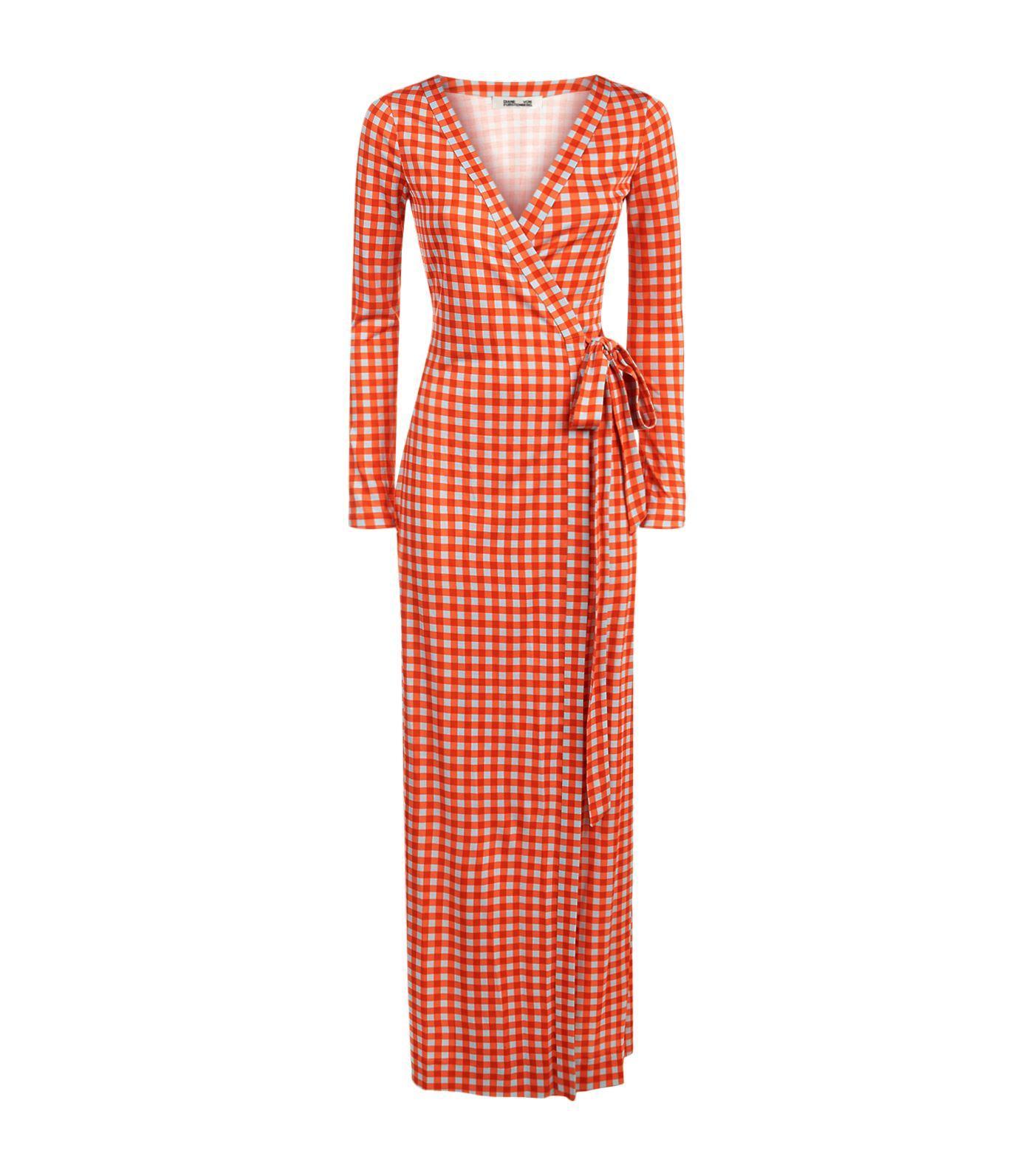 4514188e7e Lyst - Diane von Furstenberg Julian Gingham Wrap Maxi Dress in Red