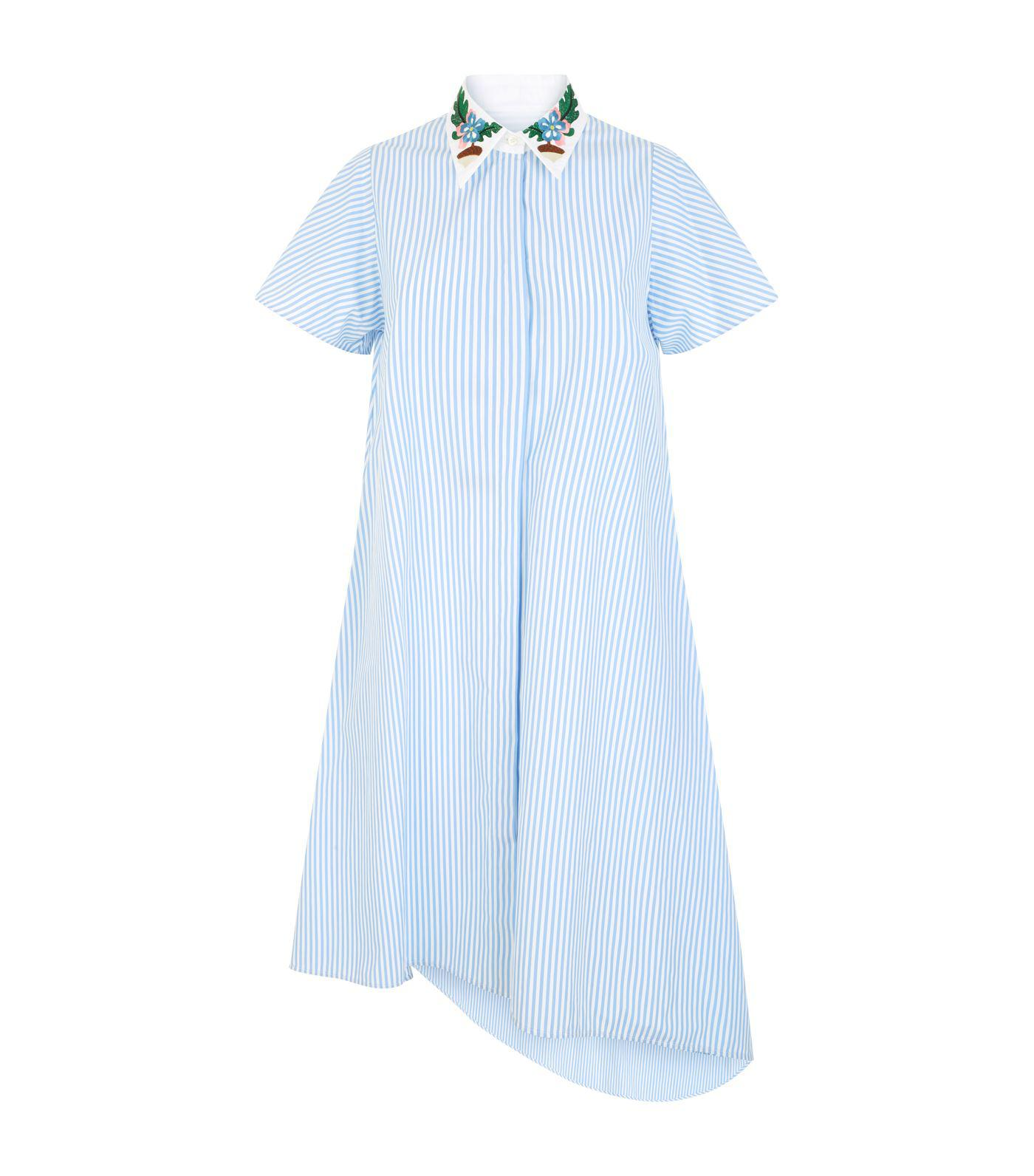 beb3510547 Lyst - Weekend by Maxmara Embroidered Asymmetric Striped Shirt Dress ...