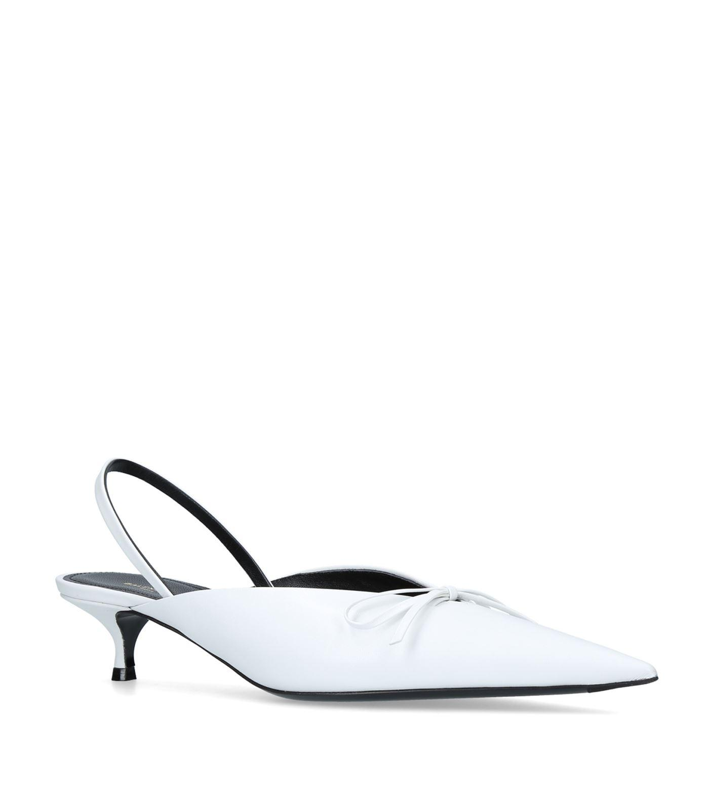 Balenciaga White Leather Knife Mules