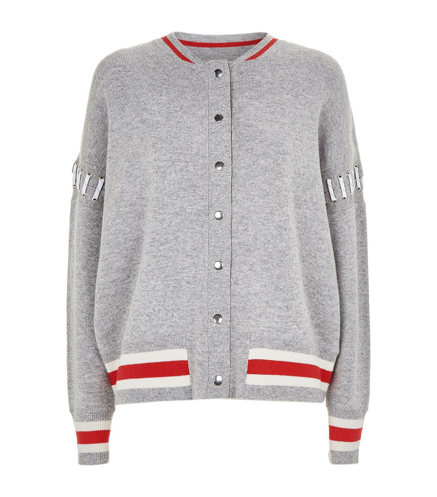 e95feeece766 Lyst - Zoe Jordan Lupi Laced Knit Bomber Jacket in Gray