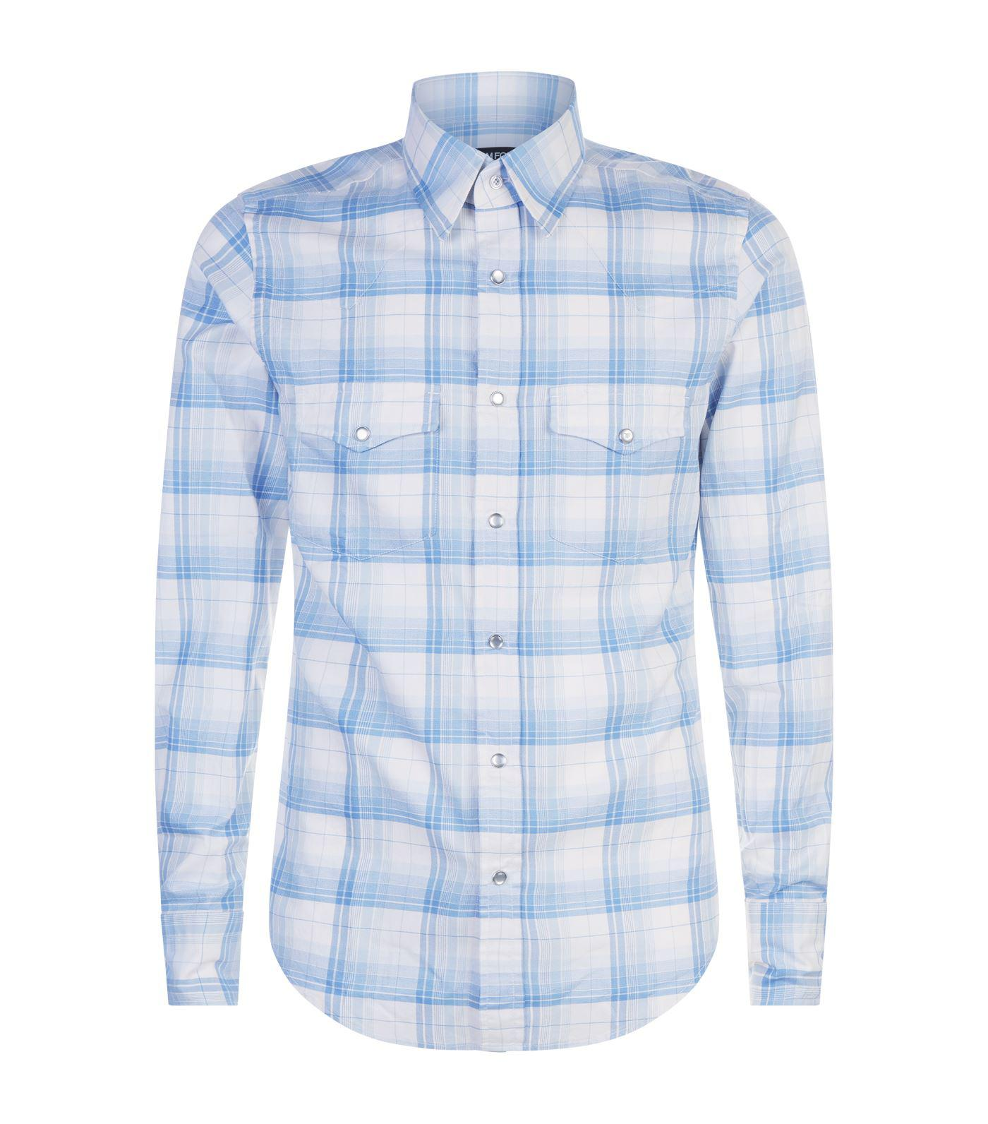f1e15ad2c6d Lyst - Tom Ford Western Cuff Check Shirt in Blue for Men