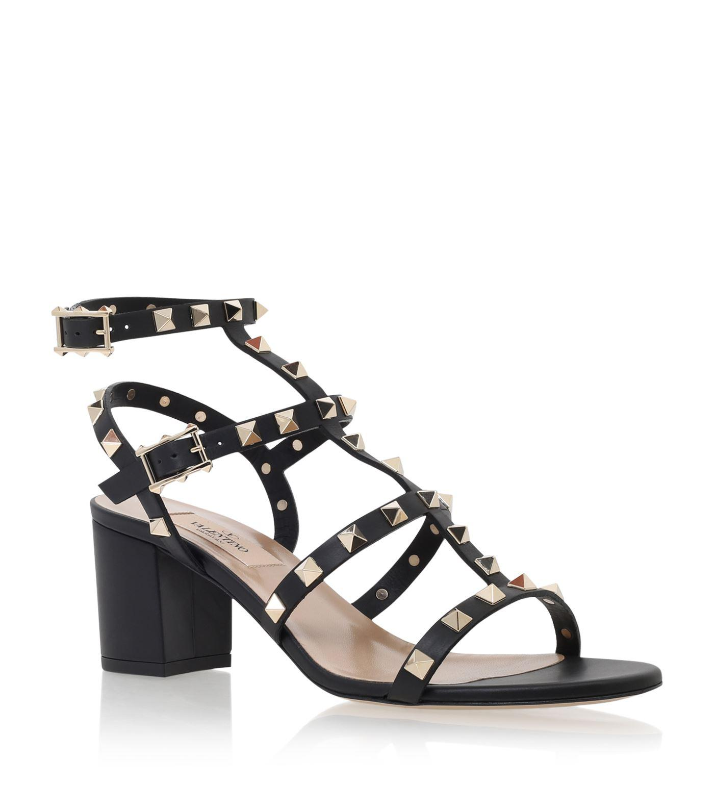 a910cd36297b Lyst - Valentino Rockstud Leather 60mm Sandals in Metallic - Save 61%