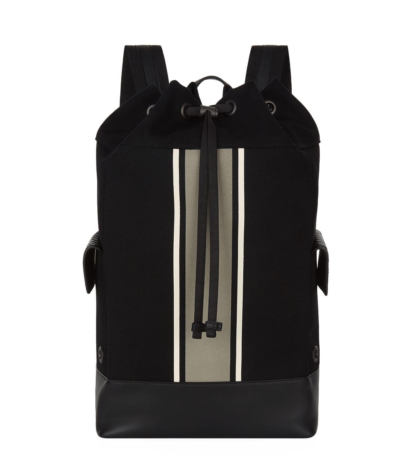 400f4f8868e5 Lyst - Bottega Veneta Striped Canvas Drawstring Backpack in Gray for Men