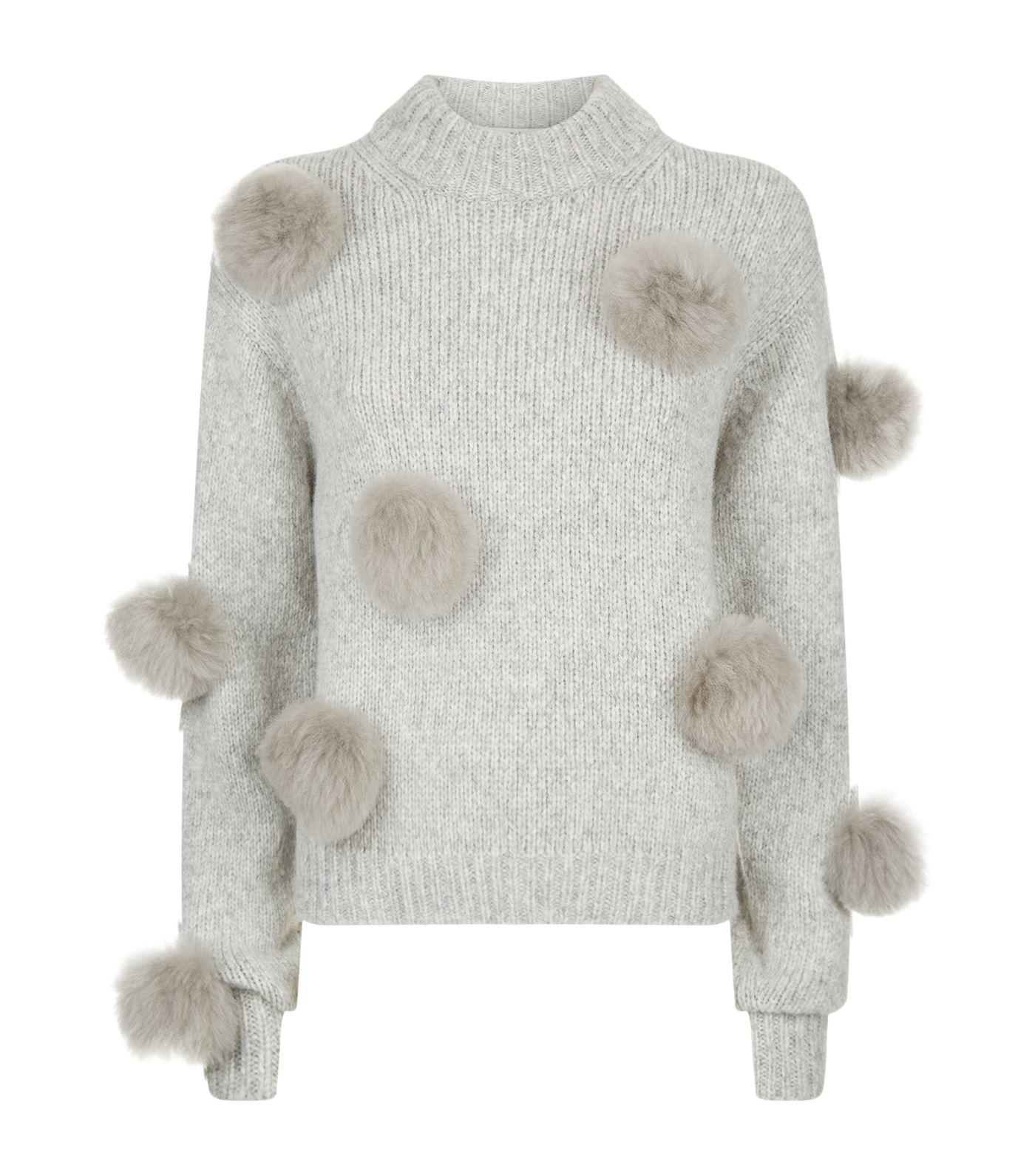 Lyst Tibi Pom Pom Sweater In Gray