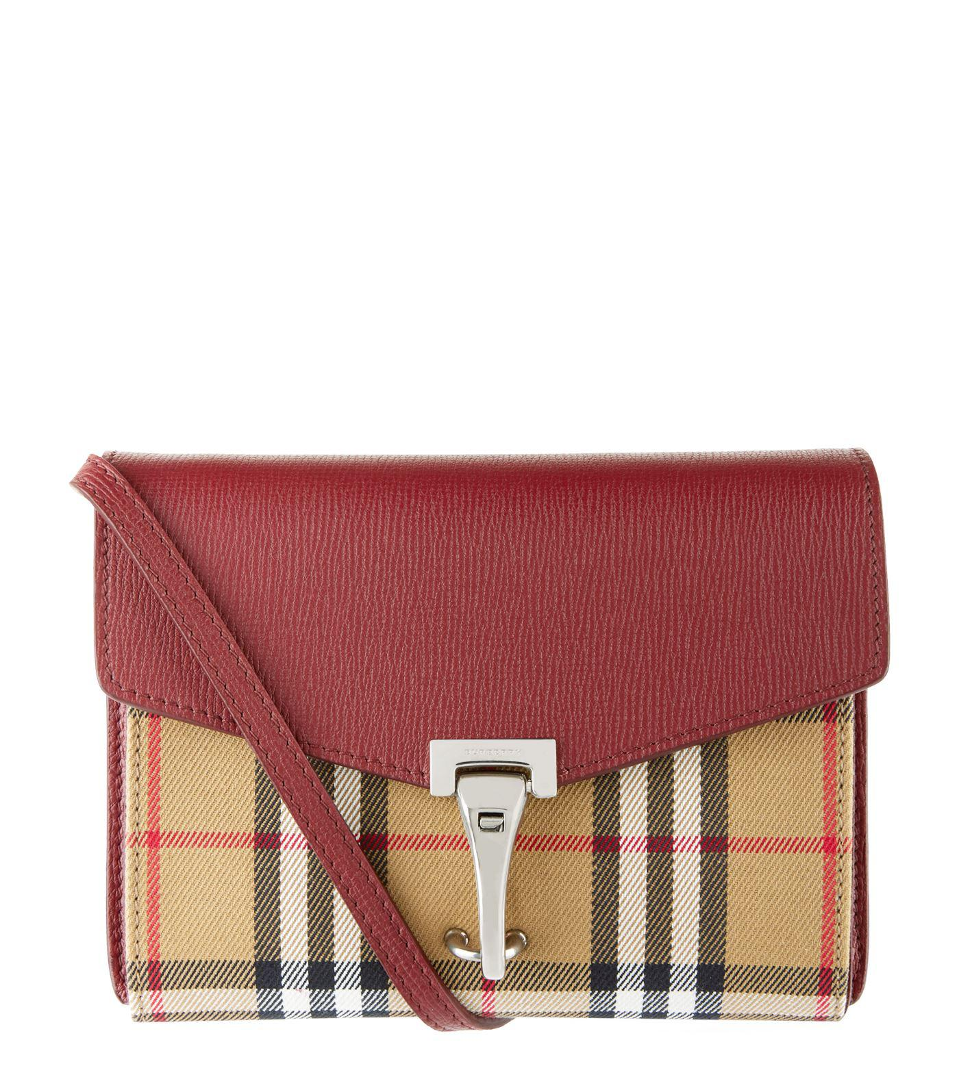 d9c4bf5de790 Burberry Macken Mini Vintage Check   Leather Crossbody in Red - Save ...