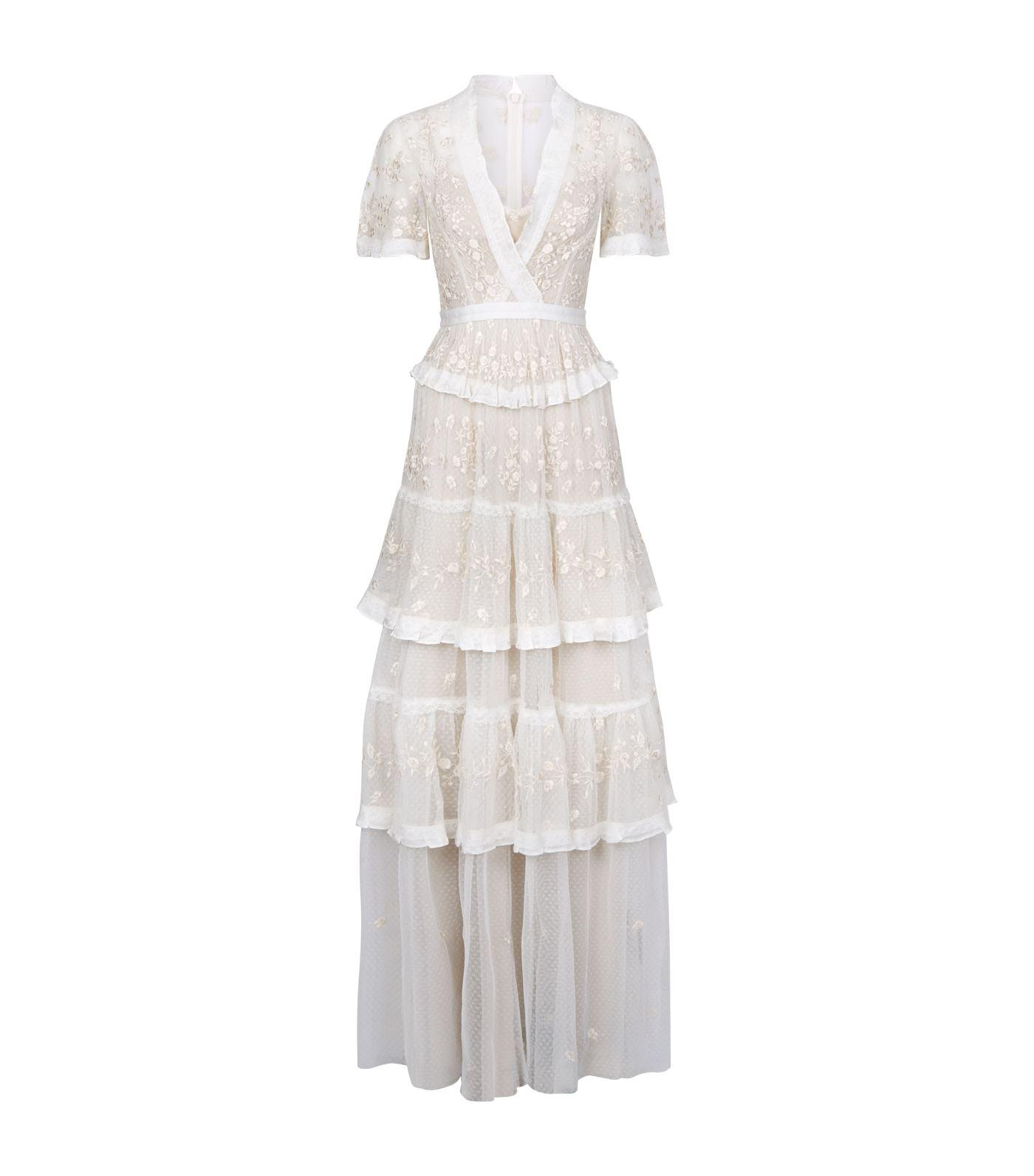 498d46f36f76 Lyst - Needle   Thread Embroidered Lace Tiered Maxi Dress In Ivory ...