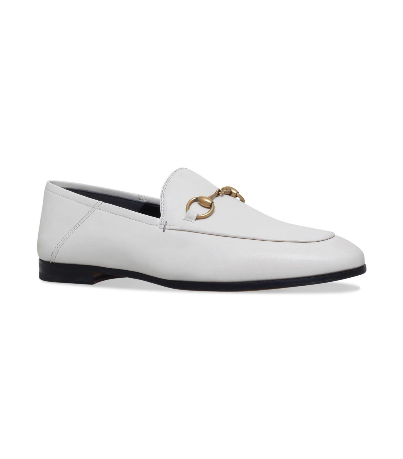 2875d040b21 Gucci Brixton Horsebit Loafers in White - Lyst