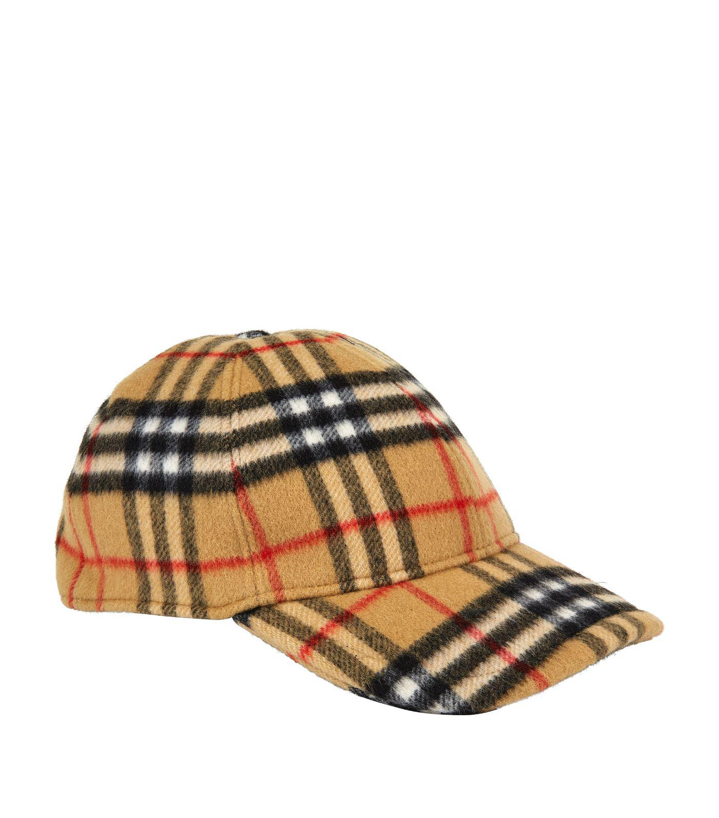 9c2f50a833f Burberry Vintage Check Wool Baseball Cap in Yellow for Men - Lyst