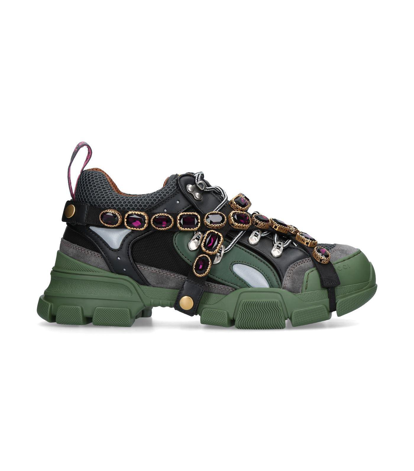 9dd8f3bc11e7c Lyst - Gucci Flashtrek Sneaker With Removable Crystals in Green for ...