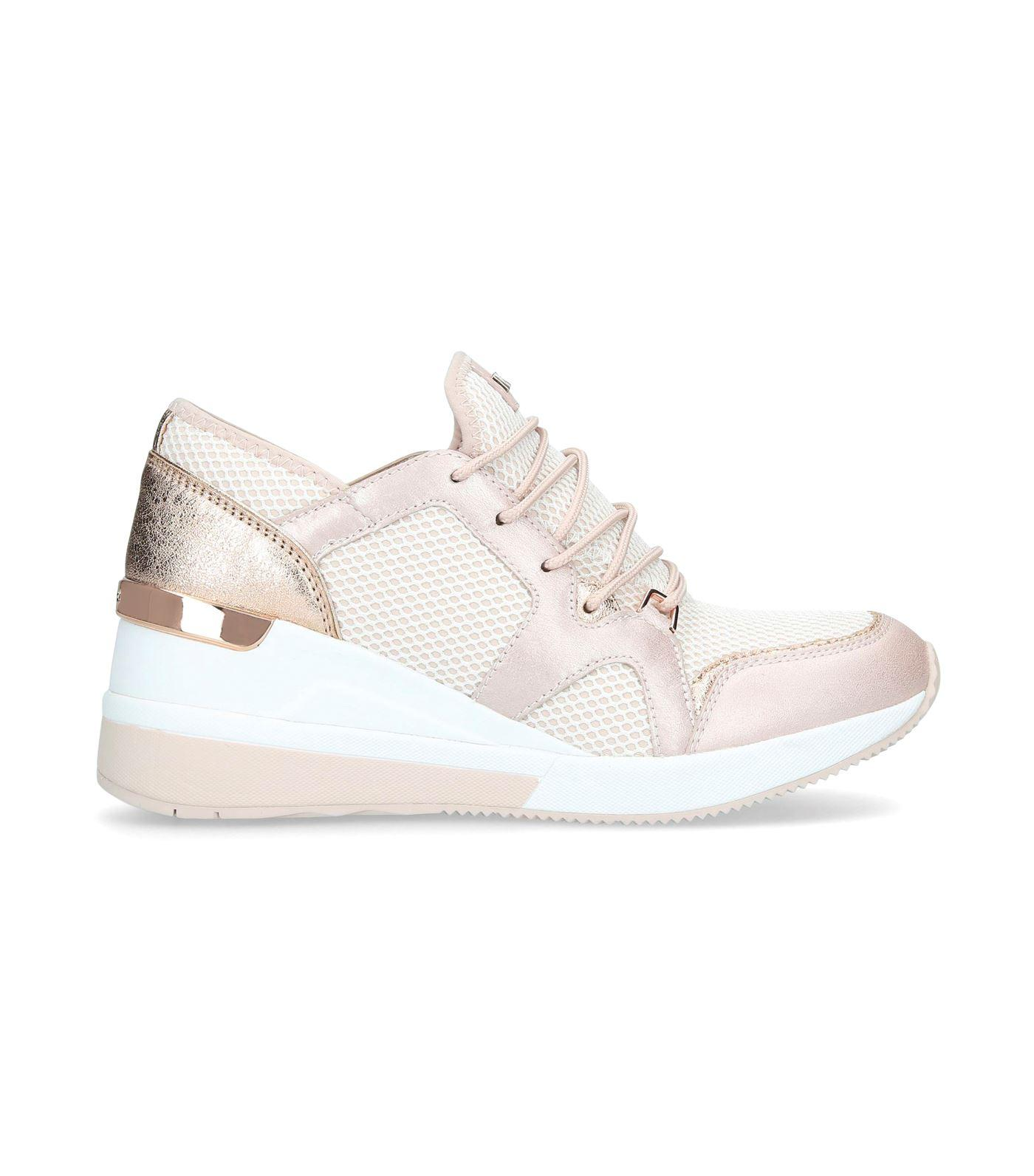 8db6072417d Lyst - MICHAEL Michael Kors Leather Liv Wedge Sneakers in Pink