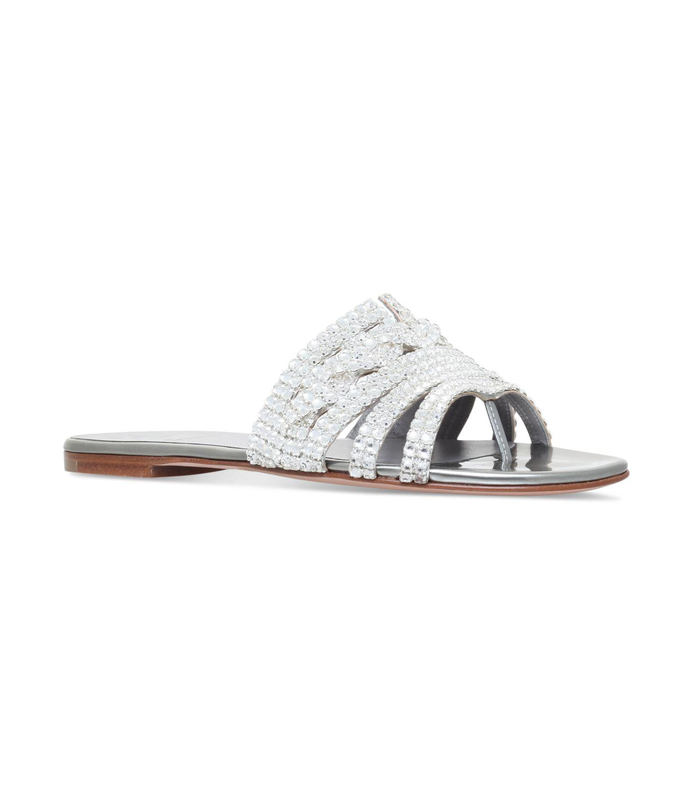 86dfe3b3a4fb Gina Embellished Loren Slides in Metallic - Lyst